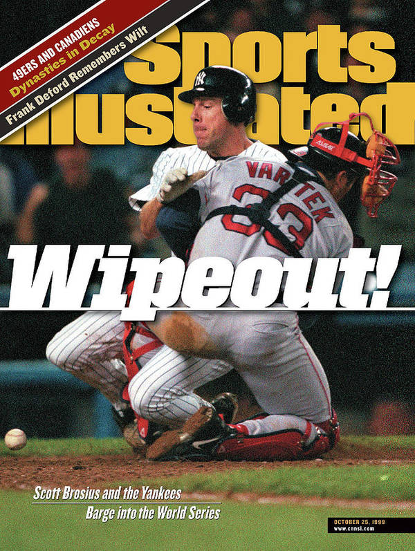 Magazine Cover Poster featuring the photograph New York Yankees Scott Brosius, 1999 American League Sports Illustrated Cover by Sports Illustrated