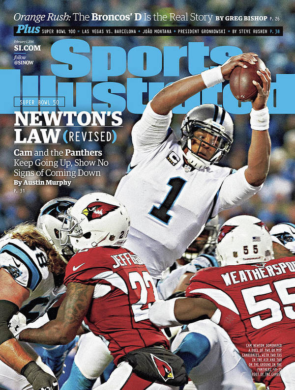 Magazine Cover Poster featuring the photograph Newtons Law Revised Cam And The Panthers Keep Going Up Sports Illustrated Cover by Sports Illustrated