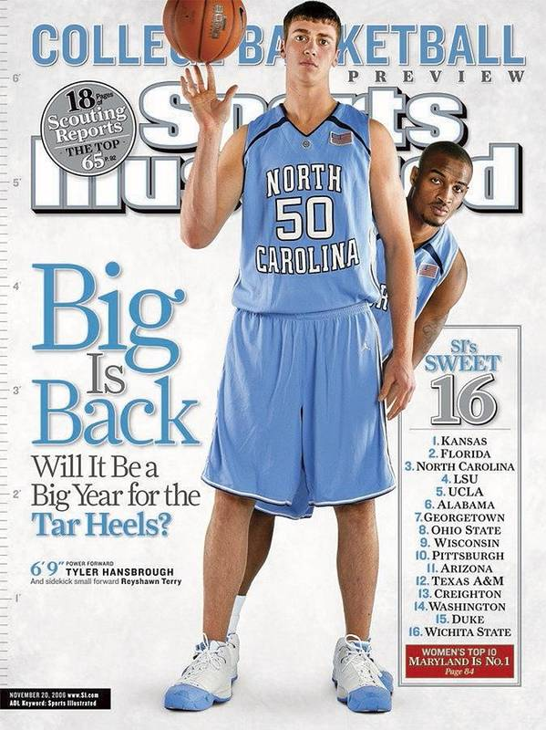 North Carolina Poster featuring the photograph North Carolina Tyler Hansbrough And Reyshawn Terry Sports Illustrated Cover by Sports Illustrated