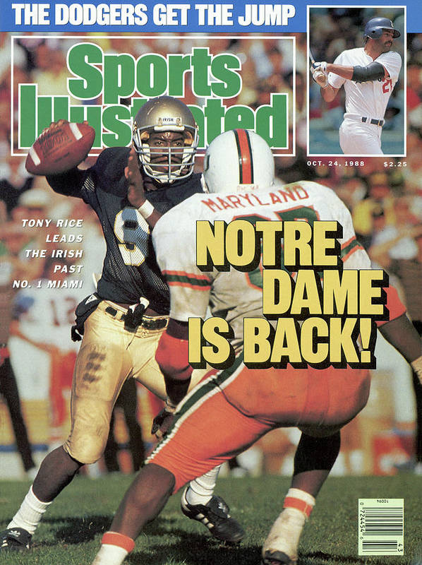 1980-1989 Poster featuring the photograph Notre Dame Is Back Tony Rice Leads The Irish Past No. 1 Sports Illustrated Cover by Sports Illustrated