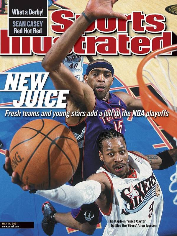 Playoffs Poster featuring the photograph Philadelphia 76ers Allen Iverson, 2001 Nba Eastern Sports Illustrated Cover by Sports Illustrated