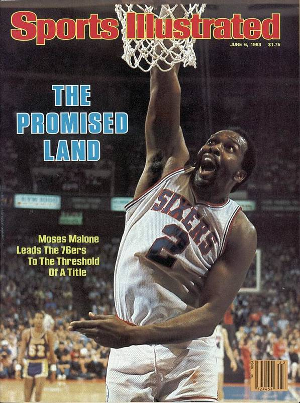 Magazine Cover Poster featuring the photograph Philadelphia 76ers Moses Malone, 1983 Nba Finals Sports Illustrated Cover by Sports Illustrated