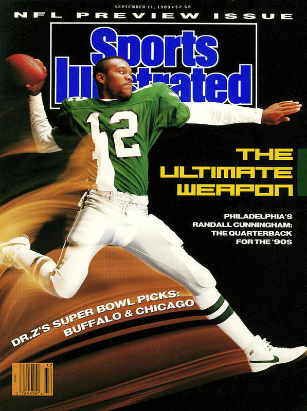 Magazine Cover Poster featuring the photograph Philadelphia Eagles Qb Randall Cunningham, 1989 Nfl Sports Illustrated Cover by Sports Illustrated
