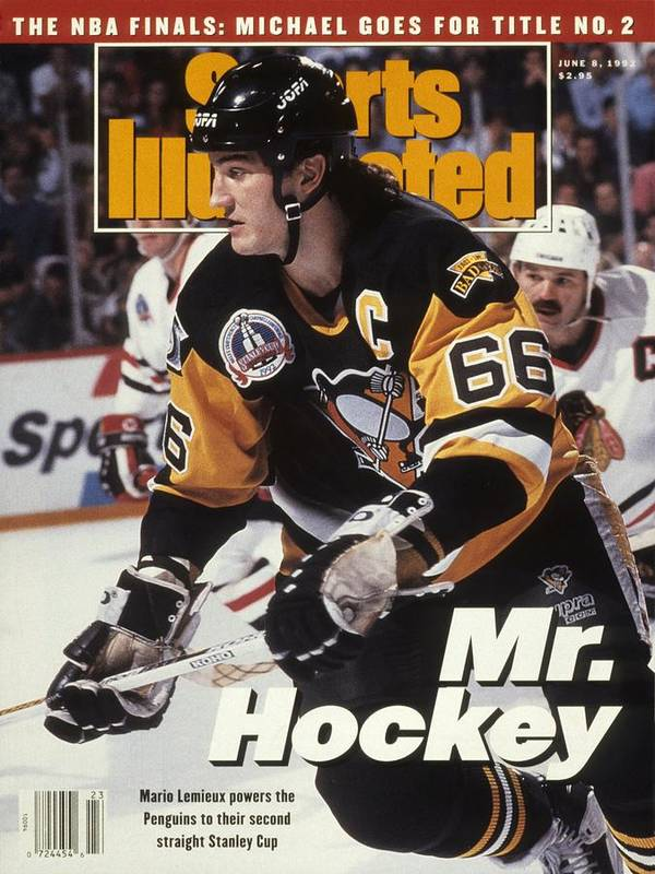 National Hockey League Poster featuring the photograph Pittsburgh Penguins Mario Lemieux, 1992 Nhl Stanley Cup Sports Illustrated Cover by Sports Illustrated