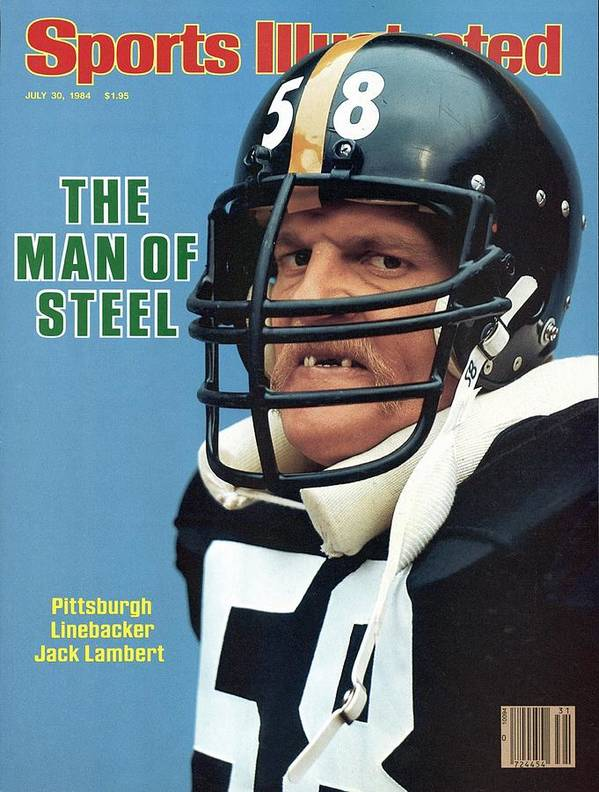 Magazine Cover Poster featuring the photograph Pittsburgh Steelers Jack Lambert. Sports Illustrated Cover by Sports Illustrated