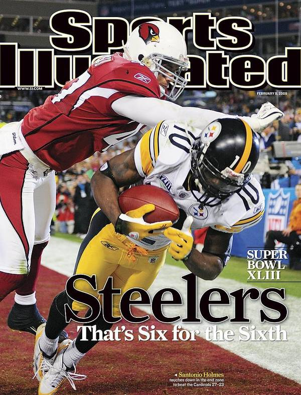 Magazine Cover Poster featuring the photograph Pittsburgh Steelers Santonio Holmes, Super Bowl Xliii Sports Illustrated Cover by Sports Illustrated
