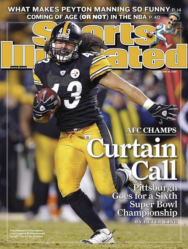 Magazine Cover Poster featuring the photograph Pittsburgh Steelers Troy Polamalu, 2009 Afc Championship Sports Illustrated Cover by Sports Illustrated