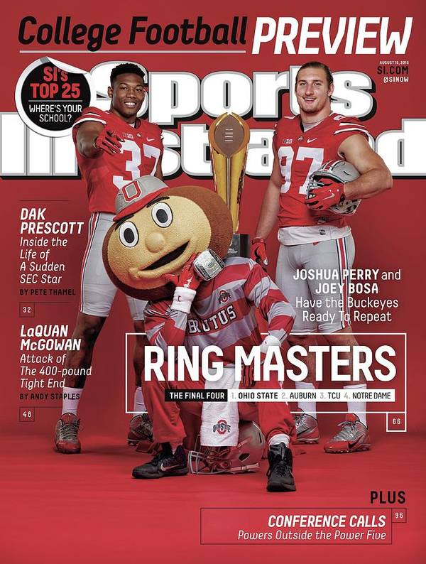 Magazine Cover Poster featuring the photograph Ring Masters 2015 College Football Preview Issue Sports Illustrated Cover by Sports Illustrated