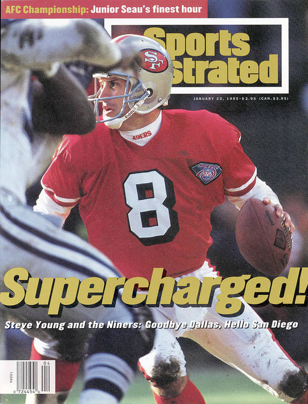 Playoffs Poster featuring the photograph San Francisco 49ers Qb Steve Young, 1995 Nfc Championship Sports Illustrated Cover by Sports Illustrated