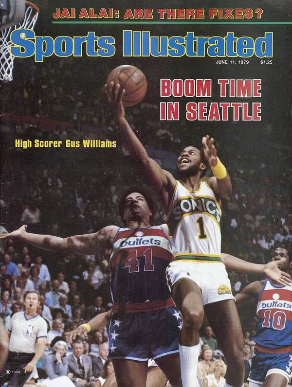 Playoffs Poster featuring the photograph Seattle Supersonics Gus Williams, 1979 Nba Finals Sports Illustrated Cover by Sports Illustrated