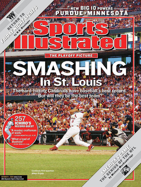 St. Louis Cardinals Poster featuring the photograph Smashing In St. Louis Sports Illustrated Cover by Sports Illustrated