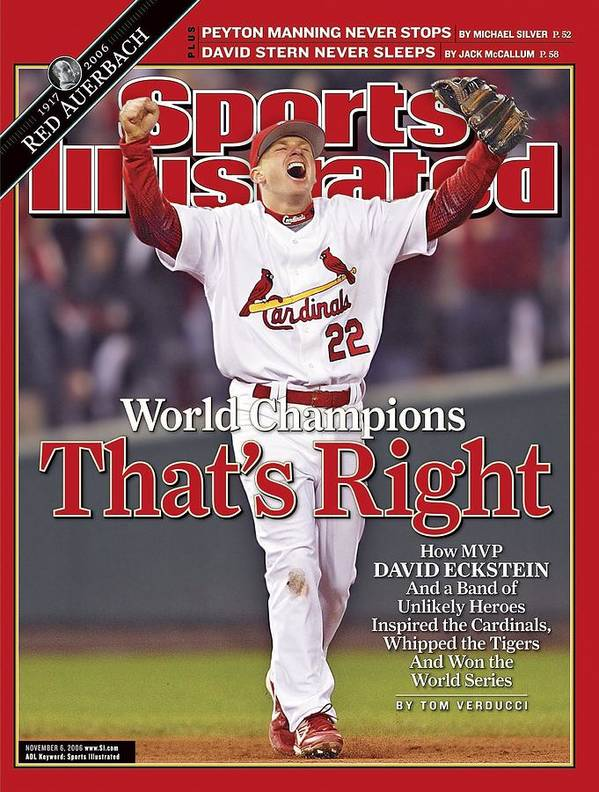 St. Louis Cardinals Poster featuring the photograph St. Louis Cardinals David Eckstein, 2006 World Series Sports Illustrated Cover by Sports Illustrated