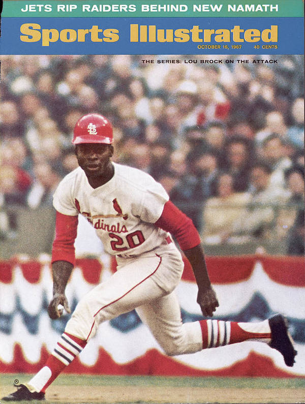 St. Louis Cardinals Poster featuring the photograph St. Louis Cardinals Lou Brock, 1967 World Series Sports Illustrated Cover by Sports Illustrated