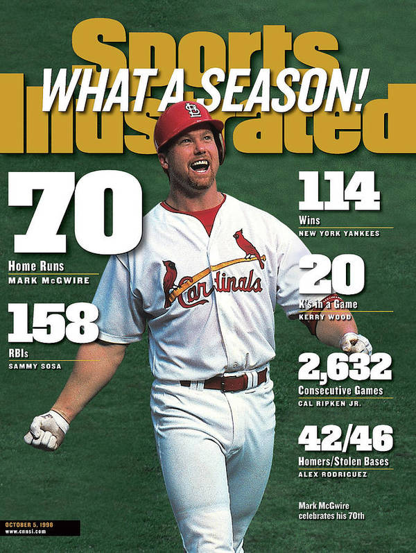 Magazine Cover Poster featuring the photograph St. Louis Cardinals Mark Mcgwire What A Season Sports Illustrated Cover by Sports Illustrated