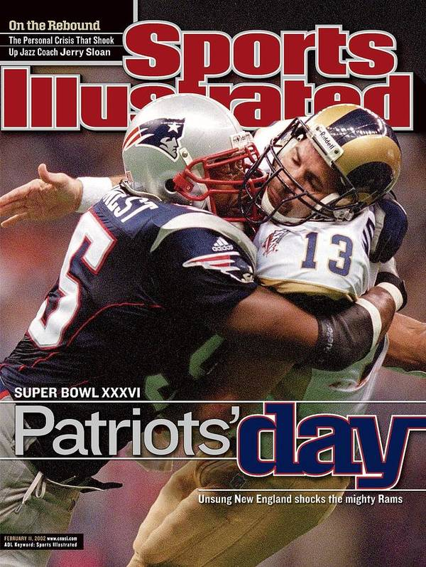 New England Patriots Poster featuring the photograph St. Louis Rams Qb Kurt Warner, Super Bowl Xxxvi Sports Illustrated Cover by Sports Illustrated