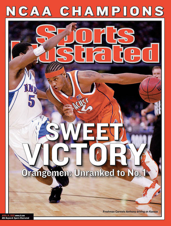 Sports Illustrated Poster featuring the photograph Syracuses Carmelo Anthony, 2003 Ncaa National Championship Sports Illustrated Cover by Sports Illustrated