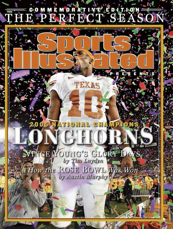 Magazine Cover Poster featuring the photograph Texas Qb Vince Young, 2006 Rose Bowl Sports Illustrated Cover by Sports Illustrated