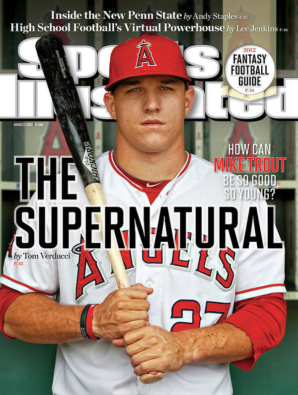 Magazine Cover Poster featuring the photograph The Supernatural How Can Mike Trout Be So Good So Young Sports Illustrated Cover by Sports Illustrated