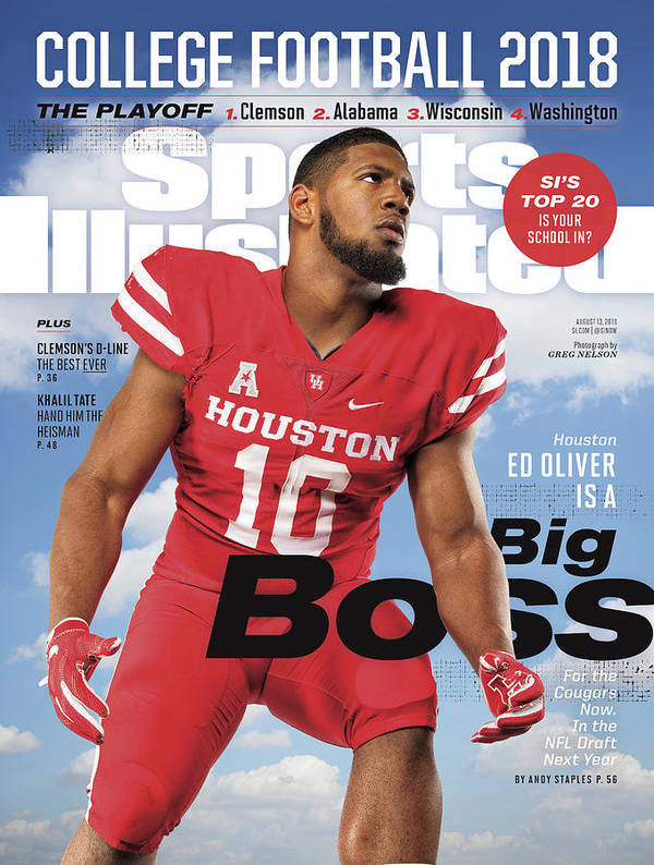 Magazine Cover Poster featuring the photograph University Of Houston Ed Oliver, 2018 College Football Sports Illustrated Cover by Sports Illustrated