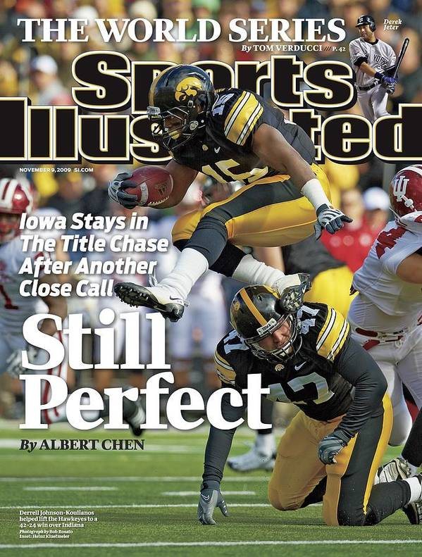 Magazine Cover Poster featuring the photograph University Of Iowa Derrell Johnson-koulianos Sports Illustrated Cover by Sports Illustrated