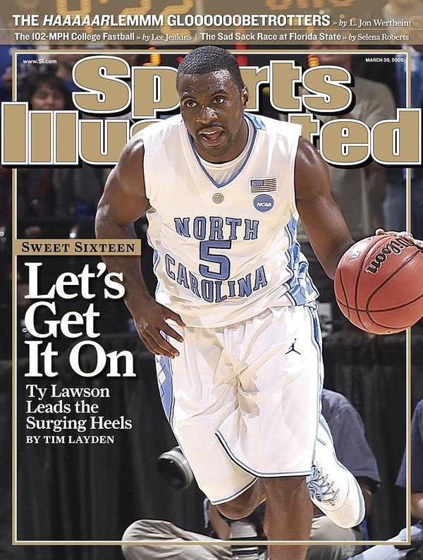 Playoffs Poster featuring the photograph University Of North Carolina Ty Lawson, 2009 Ncaa South Sports Illustrated Cover by Sports Illustrated