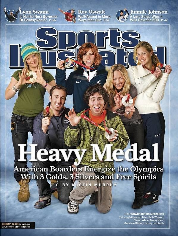 Magazine Cover Poster featuring the photograph Us Snowboarding Medalists, 2006 Winter Olympics Sports Illustrated Cover by Sports Illustrated