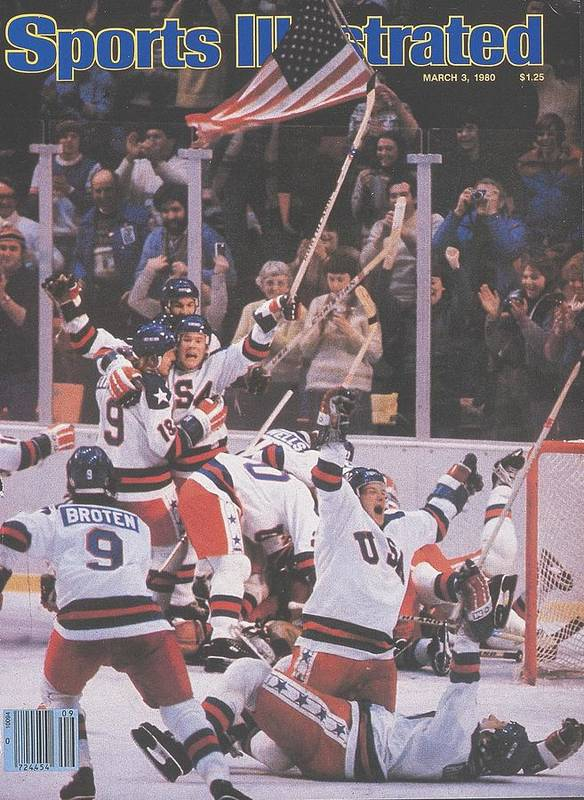 Magazine Cover Poster featuring the photograph Usa Hockey, 1980 Winter Olympics Sports Illustrated Cover by Sports Illustrated