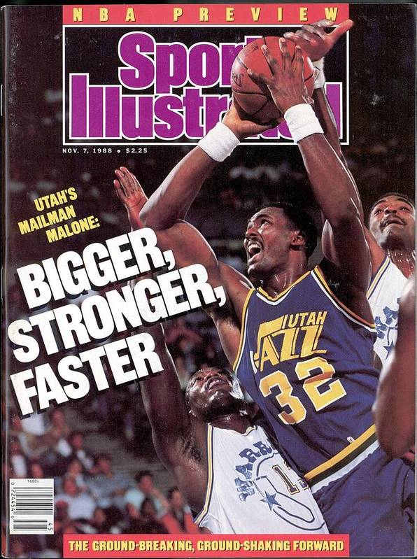 Ralph Sampson Poster featuring the photograph Utah Jazz Karl Malone, 1988 Nba Baseball Preview Sports Illustrated Cover by Sports Illustrated