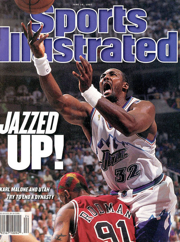 Chicago Bulls Poster featuring the photograph Utah Jazz Karl Malone, 1997 Nba Finals Sports Illustrated Cover by Sports Illustrated