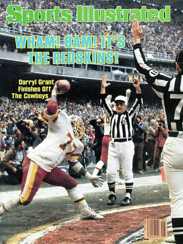 Magazine Cover Poster featuring the photograph Washington Redskins Darryl Grant, 1983 Nfc Championship Sports Illustrated Cover by Sports Illustrated