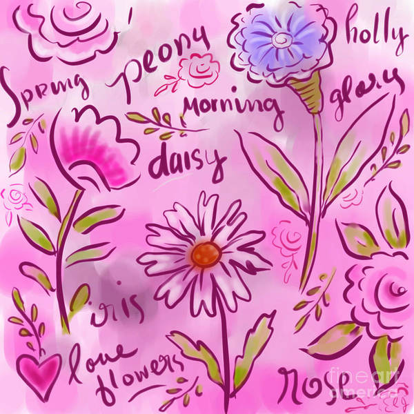 Pink Poster featuring the digital art Wild Flowers by Elaine Jackson