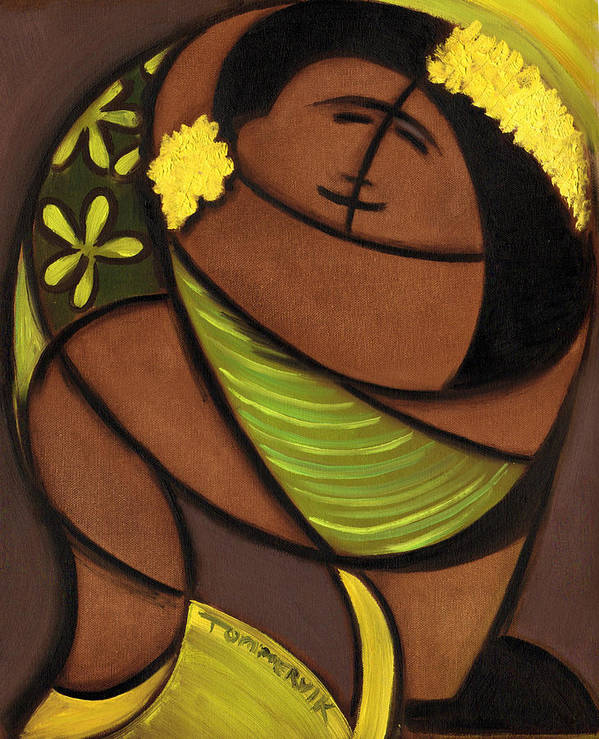 Hawaiian Poster featuring the painting Hawaiian couple dancing art print by Tommervik