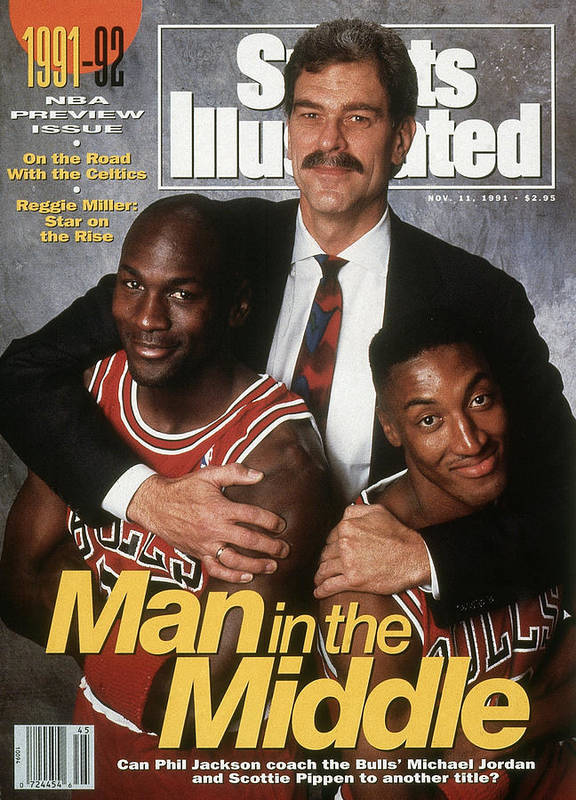 Chicago Bulls Poster featuring the photograph Chicago Bulls Coach Phil Jackson, Michael Jordan, And Sports Illustrated Cover by Sports Illustrated