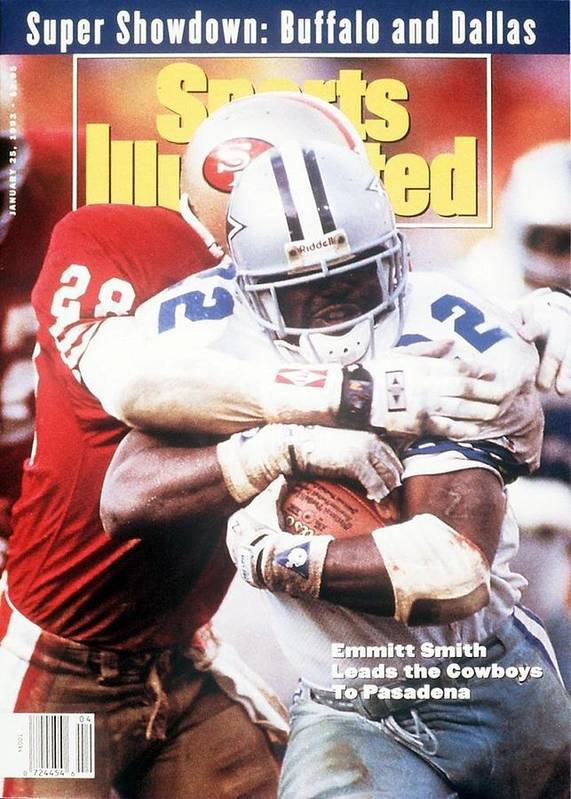 Playoffs Poster featuring the photograph Dallas Cowboys Emmitt Smith, 1993 Nfc Championship Sports Illustrated Cover by Sports Illustrated