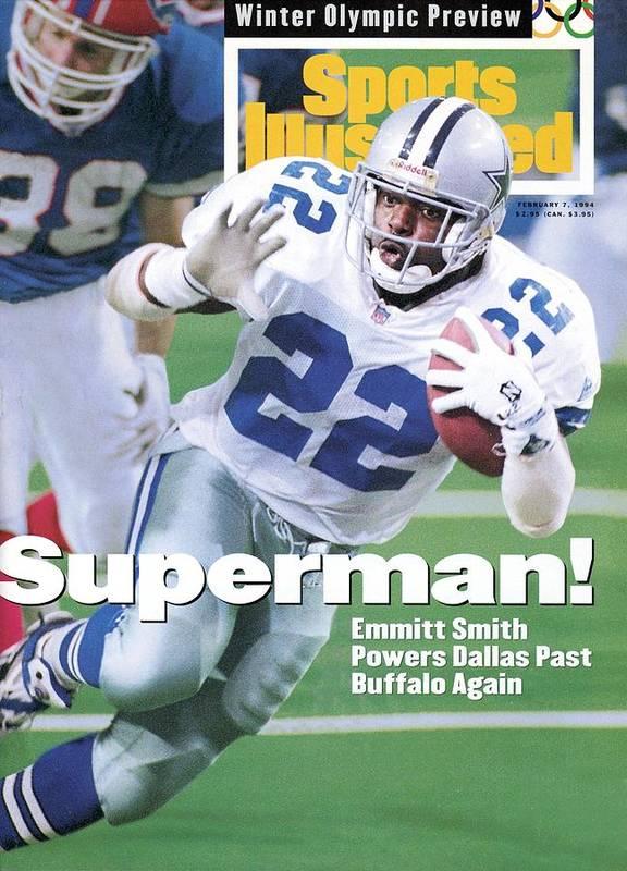 Atlanta Poster featuring the photograph Dallas Cowboys Emmitt Smith, Super Bowl Xxviii Sports Illustrated Cover by Sports Illustrated
