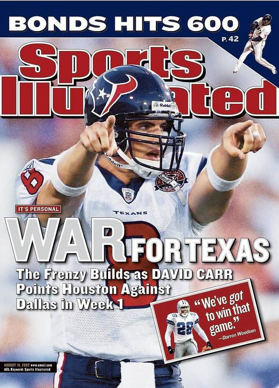 Magazine Cover Poster featuring the photograph Houston Texans Qb David Carr, 2002 Nfl Hall Of Fame Game Sports Illustrated Cover by Sports Illustrated