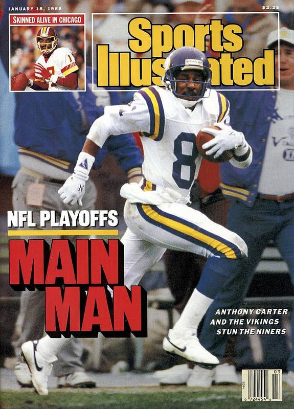 Candlestick Park Poster featuring the photograph Minnesota Vikings Anthony Carter, 1988 Nfc Divisional Sports Illustrated Cover by Sports Illustrated