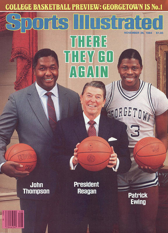 1980-1989 Poster featuring the photograph Ronald Reagan With Georgetown University Coach John Sports Illustrated Cover by Sports Illustrated