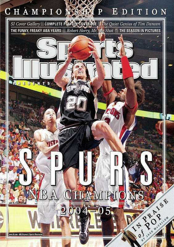 Playoffs Poster featuring the photograph San Antonio Spurs Manu Ginobili, 2005 Nba Finals Sports Illustrated Cover by Sports Illustrated