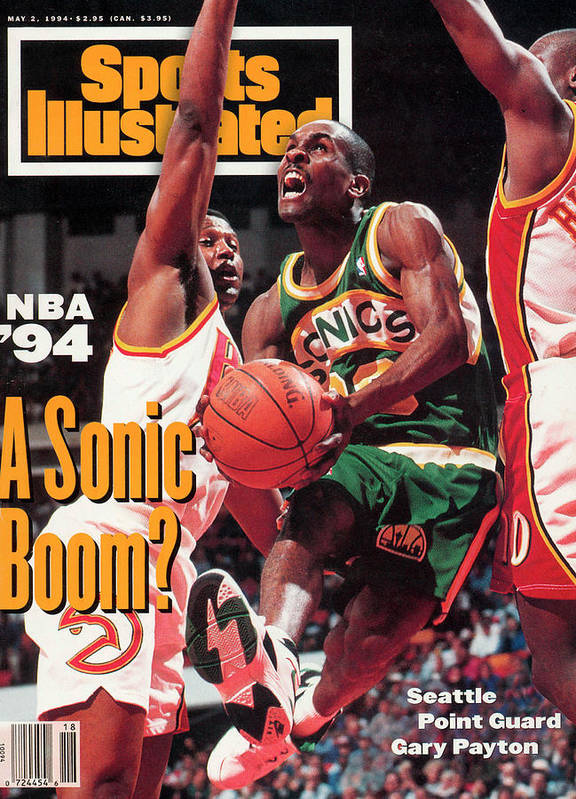 Atlanta Poster featuring the photograph Seattle Supersonics Gary Payton... Sports Illustrated Cover by Sports Illustrated