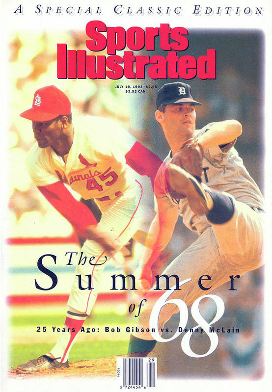 St. Louis Cardinals Poster featuring the photograph St. Louis Cardinals Bob Gibson And Detroit Tigers Denny Sports Illustrated Cover by Sports Illustrated