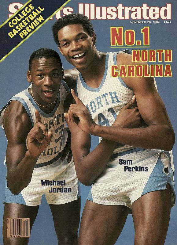 1980-1989 Poster featuring the photograph Unc Michael Jordan And Sam Perkins Sports Illustrated Cover by Sports Illustrated