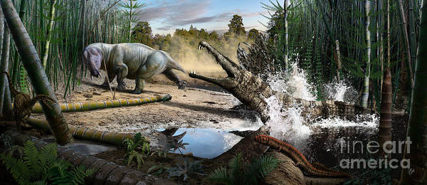 Dinosaur Poster featuring the digital art Triassic mural 1 by Julius Csotonyi