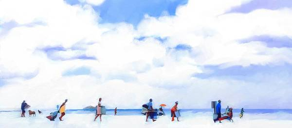 Landscape Beach Florida Poster featuring the digital art The Beachgoers by Scott Waters