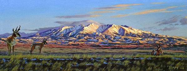 Mountains Poster featuring the painting Crazy Mountains-Morning by Paul Krapf