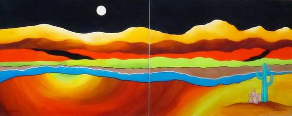 Moon Poster featuring the painting Moon Over Desert River by Carol Sabo