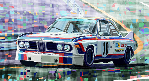 Automotive Poster featuring the digital art BMW 3 0 CSL 1st SPA 24hrs 1973 Quester Hezemans by Yuriy Shevchuk