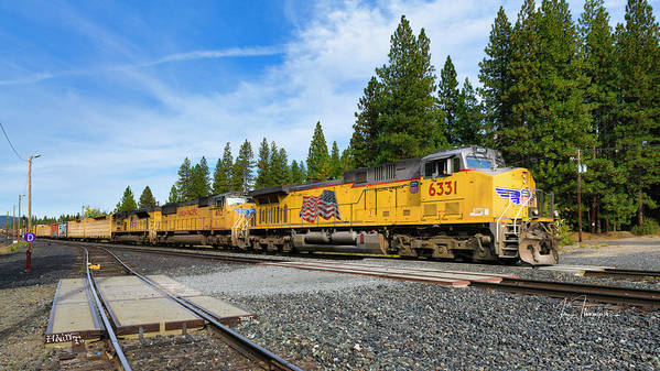 Freight Trains Poster featuring the photograph Up6331 by Jim Thompson
