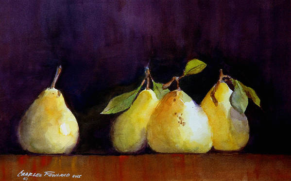 Still Life Poster featuring the painting Pears by Charles Rowland