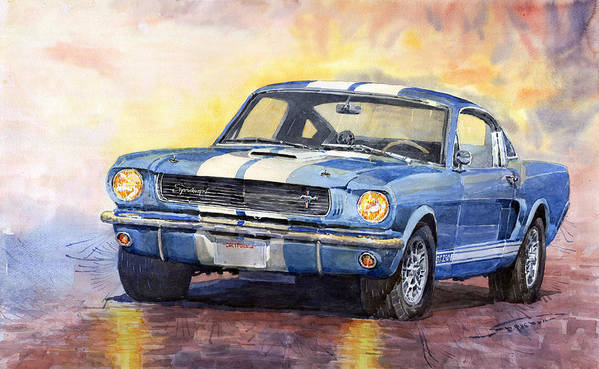 Watercolor Poster featuring the painting 1966 Ford Mustang GT 350 by Yuriy Shevchuk